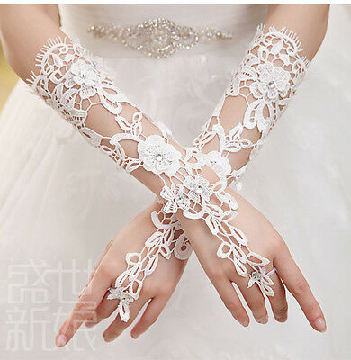 white/ivory Lace Bride Bridal Accessories Gloves fingerless Wedding dress gown