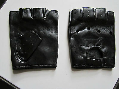 Windproof Warmer PU Leather Fingerless Motorcycle Cycling Driving Gloves unisex