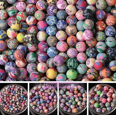 Wholesale Mixed Polymer Clay Fimo Flower Round Loose Spacer Beads 6/8/10/12/15mm