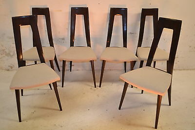 STUNNING SET 6 VINTAGE ITALIAN WALNUT DINING CHAIRS - 1950's
