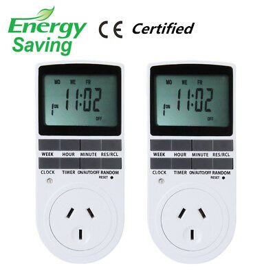 2X Programmable Digital LCD Plug-in Timer Socket Switch 240V AU Plug 12/24 hours