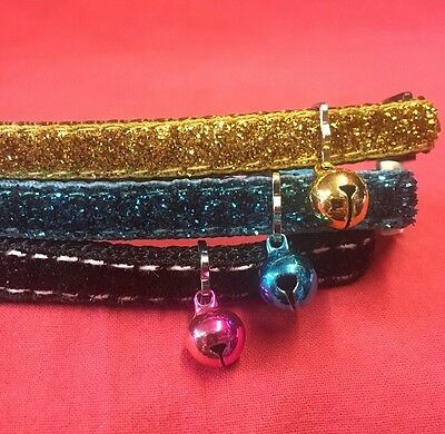 3 x Cat Kitten Collar Nylon BLACK GOLD BLUE Glitter Quick Release Safety Buckle