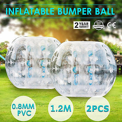 2Pcs 1.2M Inflatable Bubble Bumper Zorb Ball TPU Football Soccer Game Family Fun