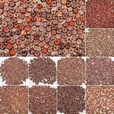 100pc 9x10mm Charming Round Wooden Loose Craft Beads Jewelry DIY Findings