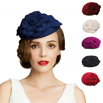A083 Womens Fascinator Wool Felt Cocktail Hat Beret Royal Ascot Race Wedding