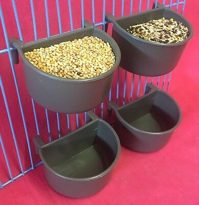 4 X Small Animal Hamster Cage Clip On Water Food Bowl Countainer 2 Hook Cup 7 cm