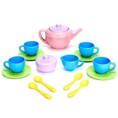 Tea Set Green Toys Recycled Plastic Play Pretend Toys For Kids Dishwasher Safe