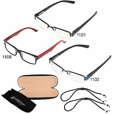 Unisex Reading Glasses Men Women Trendy Designer Slim Spring Hinge Metal Frame