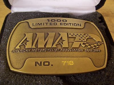 Vintage American Motorcycle Association AMA 70 Year Brass Belt Buckle