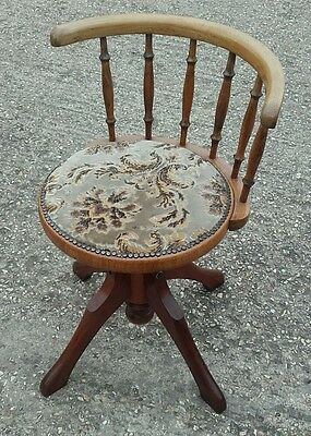 Oak antique office chair - height adjustment and seivels