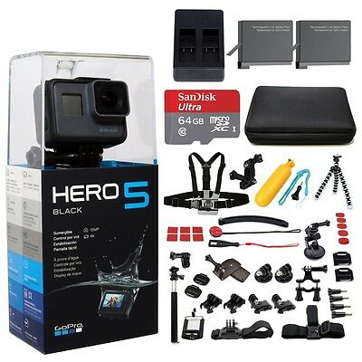 GoPro HERO5 Black Edition+64GB, 2 Battery, charger, mounts &more. 47pcs Mega Kit
