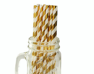 25 x Gold Foil Stripe Paper Straws Drink Wedding Party Event Striped Drinking