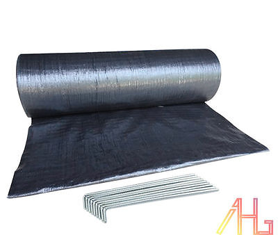 20M x 2M WEED CONTROL FABRIC MEMBRANE DRIVEWAY GROUND SHEET GARDEN 50 FREE PEGS