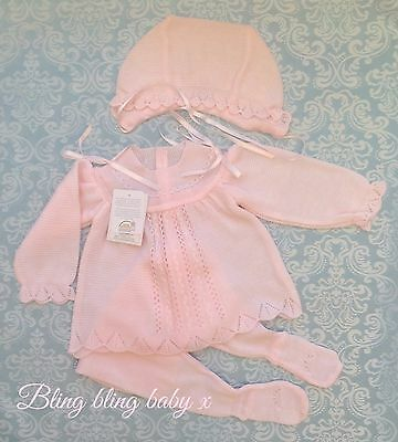 Spanish Baby Girls  Knitted Baby Grow Romper 3 Piece Outfit Set 0-3 Months Pink