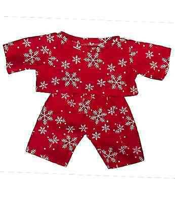 """Red Snowflake Pyjamas clothes to fit 8"""" bear factory bears"""