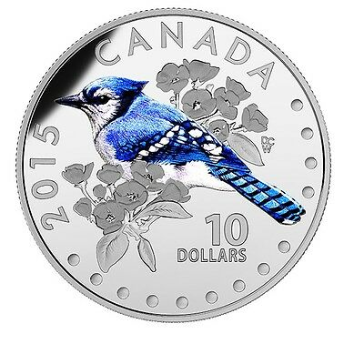 Fine Silver Coloured Coin – Colourful Songbirds of Canada: The Blue Jay (2015)
