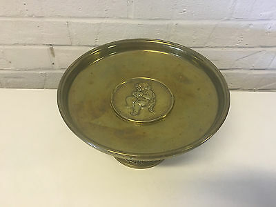 Vintage Antique Heavy Brass or Bronze Centerpiece Tazza w/ Child Eating Grapes