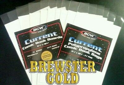 10 PREMADE BCW Current / Modern Comic Book Bags and Boards / Sleeves - Acid FREE
