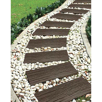 Recycled Rubber Stepping Stone Railroad Wood Effect - Walkway Path Paving SINGLE