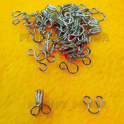 Hooks And Eyes Silver Colour Tone SEW ON Hidden Button Bra Corset Dress Fastener