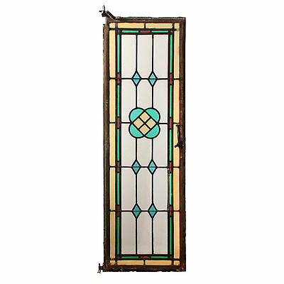 Antique American Stained Glass Window with Metal Frame, NSG138