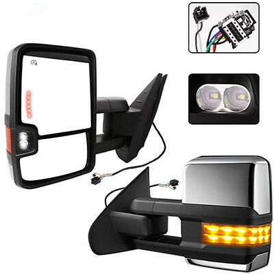 For 88-98 Chevy GMC C//K Towing Power Backup LED Dynamic Floating Chrome Mirrors