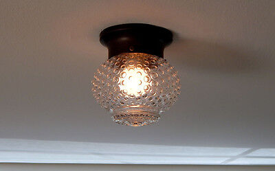 Vintage Mid Century Hobnail Ceiling Light with New Bronze Fixture Base