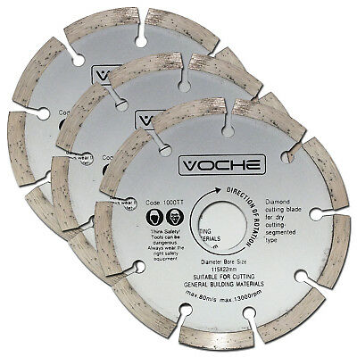 "Voche 3 Pack 115Mm 4.5"" Diamond Cutting  Blades Discs For Angle Grinder"