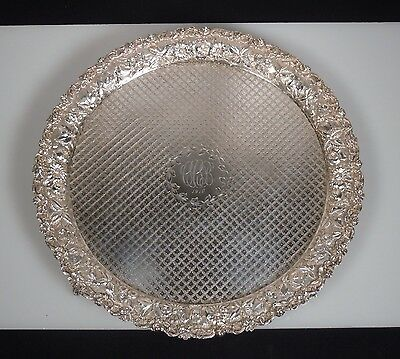 1910 S. Kirk & Son Sterling Silver Repousse Footed Salver Tray