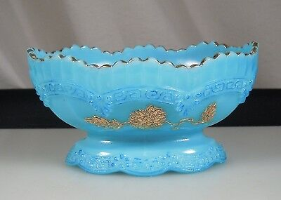 SIGNED NORTHWOOD Blue Chrysanthemum Sprig Glass Berry Bowl