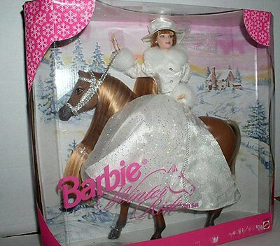 1998 Barbie Winter Ride Gift Set with Horse & Doll