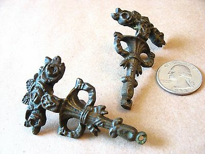 Antique/vintage roses & ribbons brass cabinet drawer pulls.. missing pull rings?