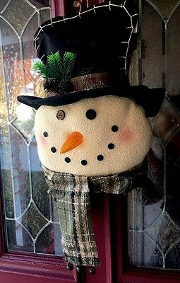 XL Primitive Country Frosty Snowman Light Up Wreath Christmas Wall Hanging Decor