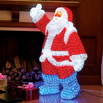 1.2M Mains Outdoor Waving Santa Father Christmas Led Light Figure Decoration