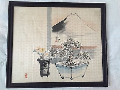 "Antique Listed Japanese/Chinese Artist Original Painting ""Mountain View""  Framed"