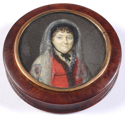 """Jacques Delaplace """"Round box with miniature portrait of an elderly lady"""", 1810"""