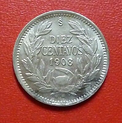 CHILE SILVER COIN 10 Centavos, KM156.2a AU 1908
