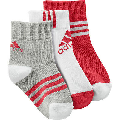 adidas Little Kids Ankle Socks (3 Pack) Red/White/Grey