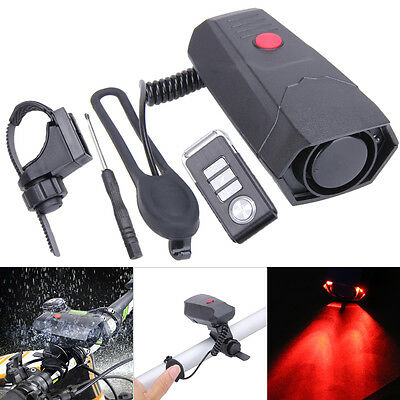 3 in1 Wireless Remote Control Bike Alarm Horn Bell Bicycle Front Lamp Headlight