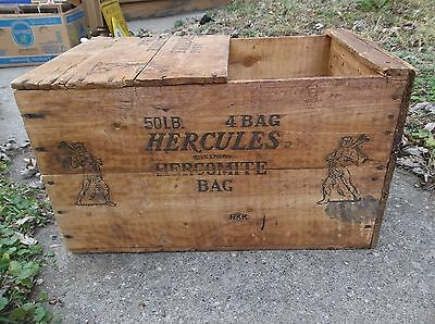 Antique HERCULES EXPLOSIVE POWDER Wood Crate Mining Vintage Box