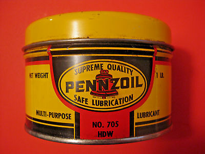VINTAGE PENNZOIL WHEEL BEARING LUBRICANT No. 705 HDW GREASE ADVERTISING OIL CAN