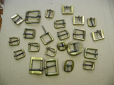 "Vintage Brass Buckles, craft Leatherwork, mixed job lot, all old, lot ""A"".."