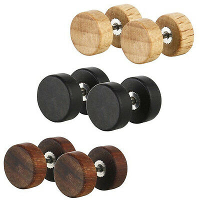 Wood Surgical Steel Fake Cheater Illusion Ear Plug Flesh Tunnel Stretch Expander