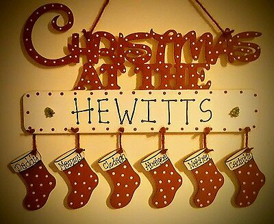 christmas at the .... sign family plaque with names on stockings