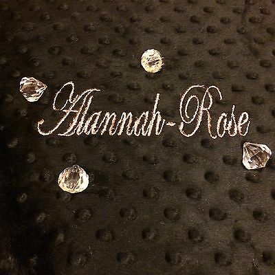 Personalised Dimple  Fleece Baby Blanket Rose Gold Thread Luxury Black Minky