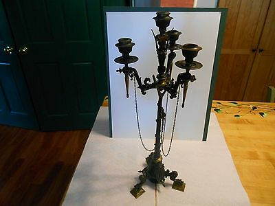 antique french empire candelabra bronze claw feet woman animal w/ wings gold