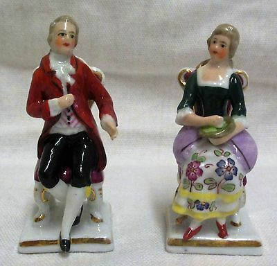 Pair Of Vintage Miniature Sitzendorf Gentleman & Lady Seated Figurines