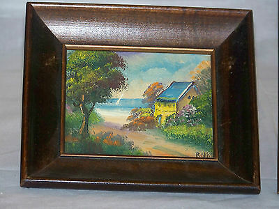 Seascape*Roth*Listed Artist Antique Genuine Oil On Panel Painting Mahogany Frame