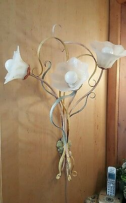 "Vintage Sergio Terzani Murano glass Wall Sconce ""Floral Bouquet"" art glass Italy"