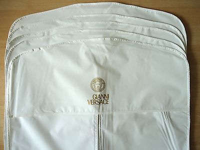 """5 VERSACE Garment Bags VINYL WHITE 22""""x38"""" For Travel or Store Away -NEW!!"""